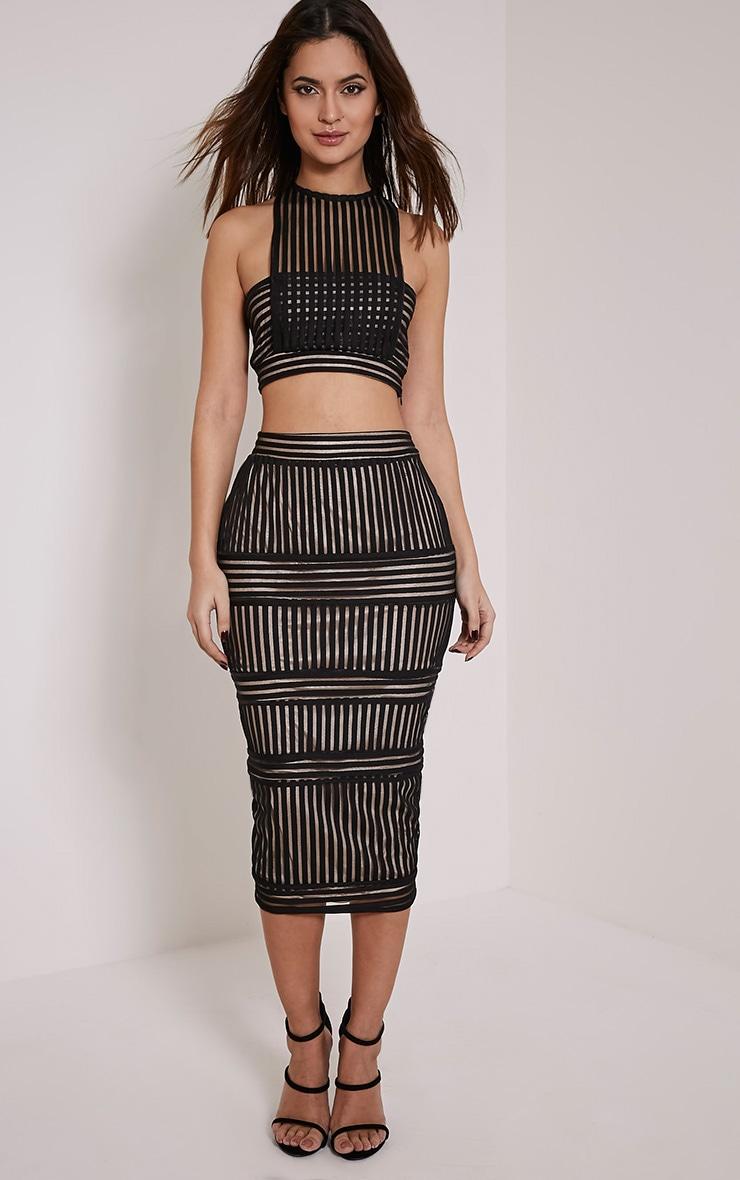 Velette Black Stripe Mesh Midi Skirt 1