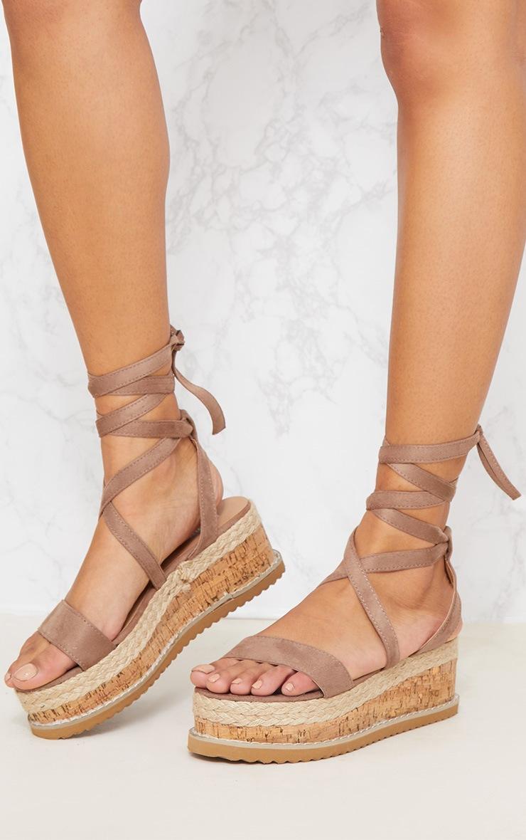 Mocha Espadrille Flatform Sandal 2