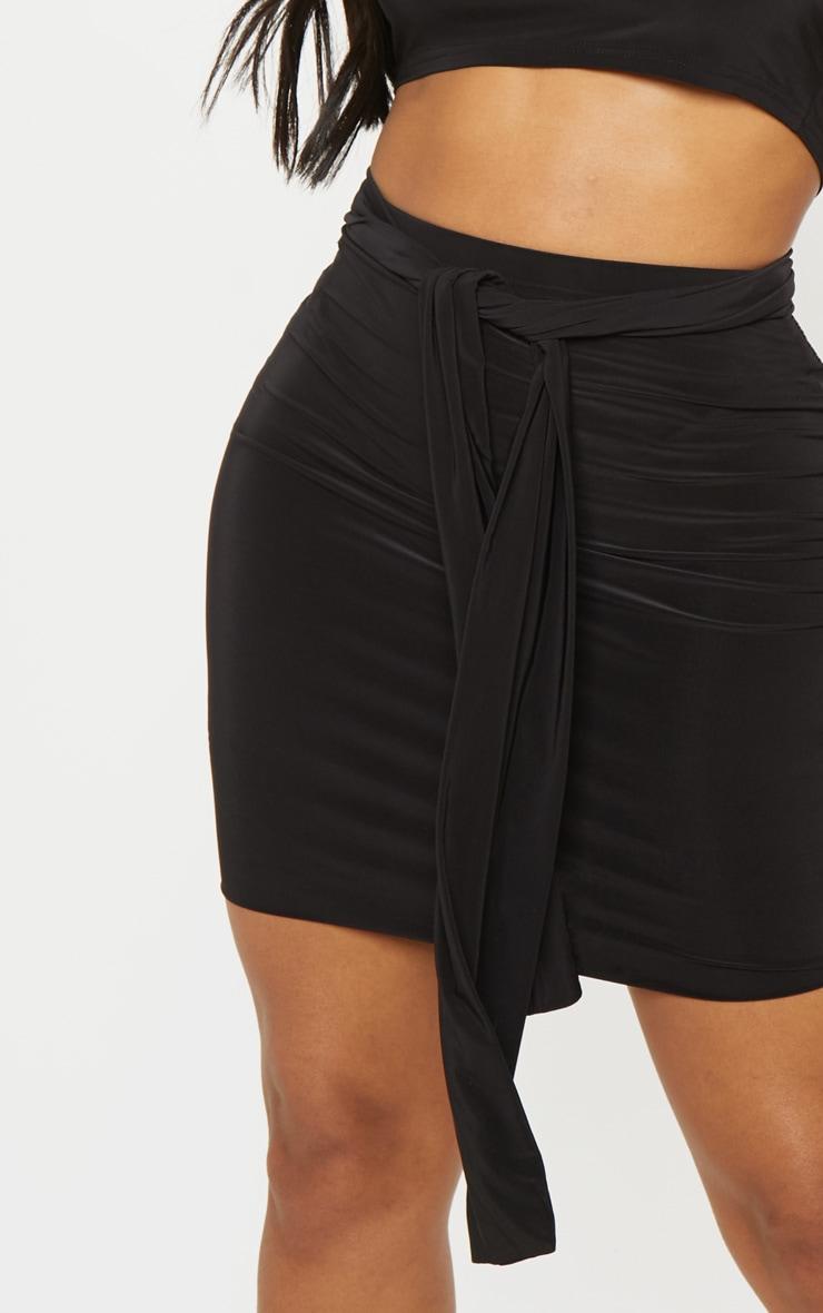 Shape Black Slinky Tie Waist Bodycon Skirt  5