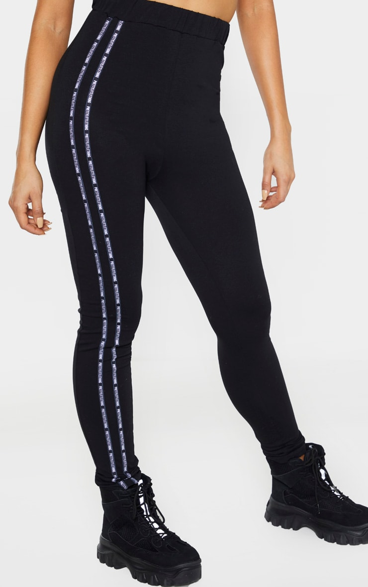 PRETTYLITTLETHING Tall Black Taping Legging  2