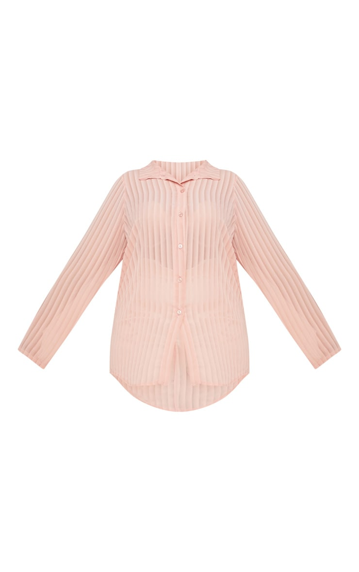Plus Dusty Pink Striped Chiffon Oversized Shirt 3