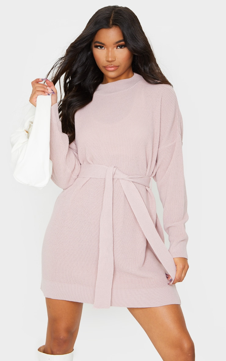 Blush Belted Waffle Stitch Jumper Dress 3