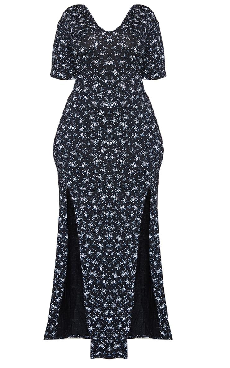 Plus Black Ditsy Floral Split Detail Maxi Dress 5