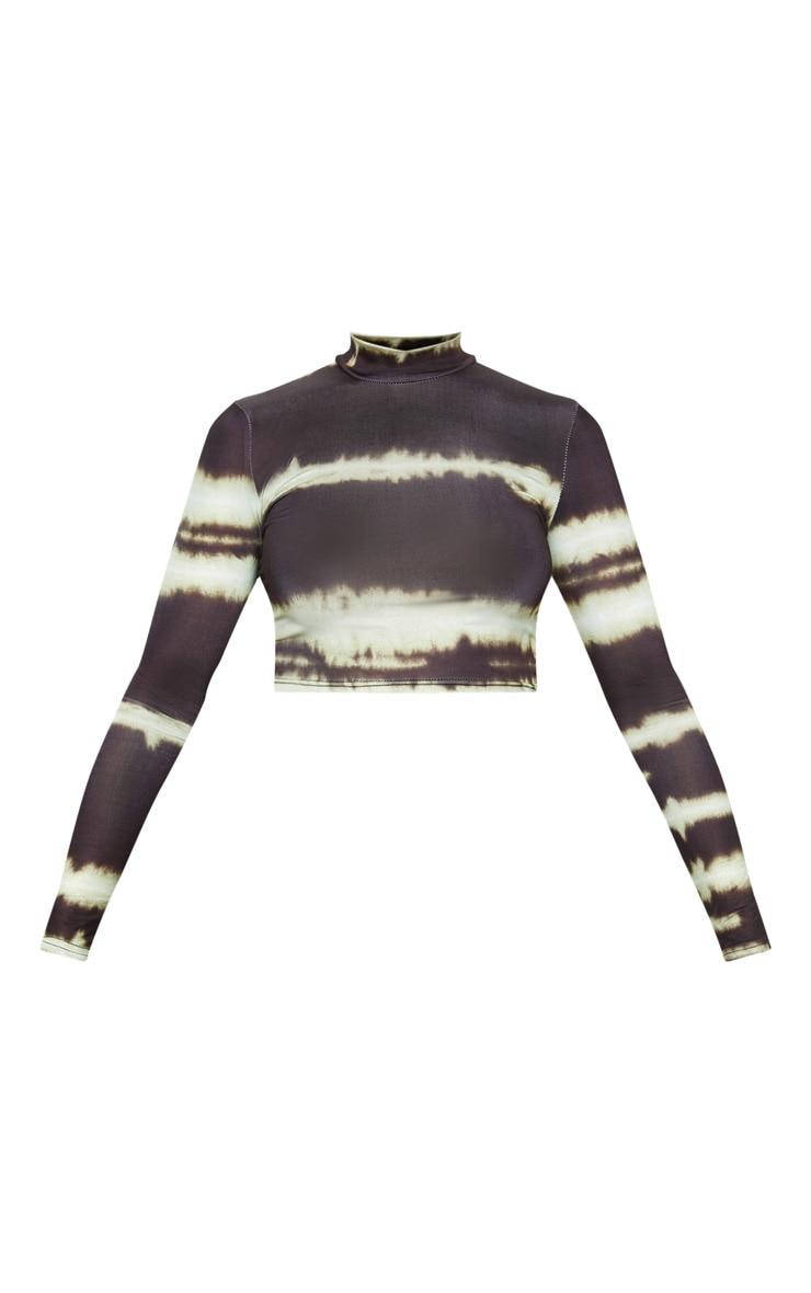 Black Tie Dye Printed High Neck Long Sleeve Crop Top 3