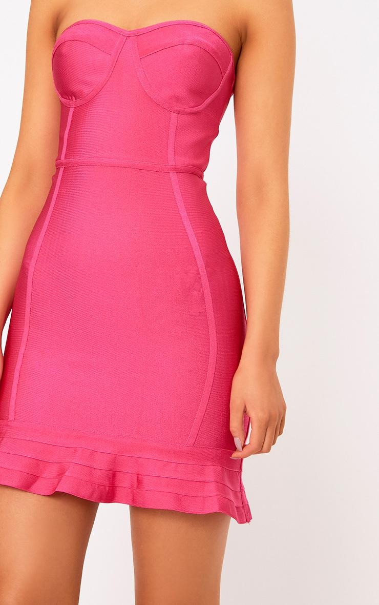 Presli Fuchsia Bandage Frill Hem Bodycon  Dress  4