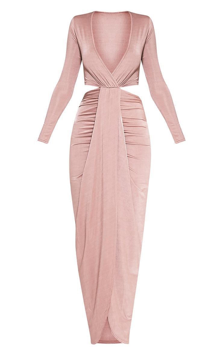 Bria Dusty Pink Wrap Front Drape Detail Maxi Dress 2
