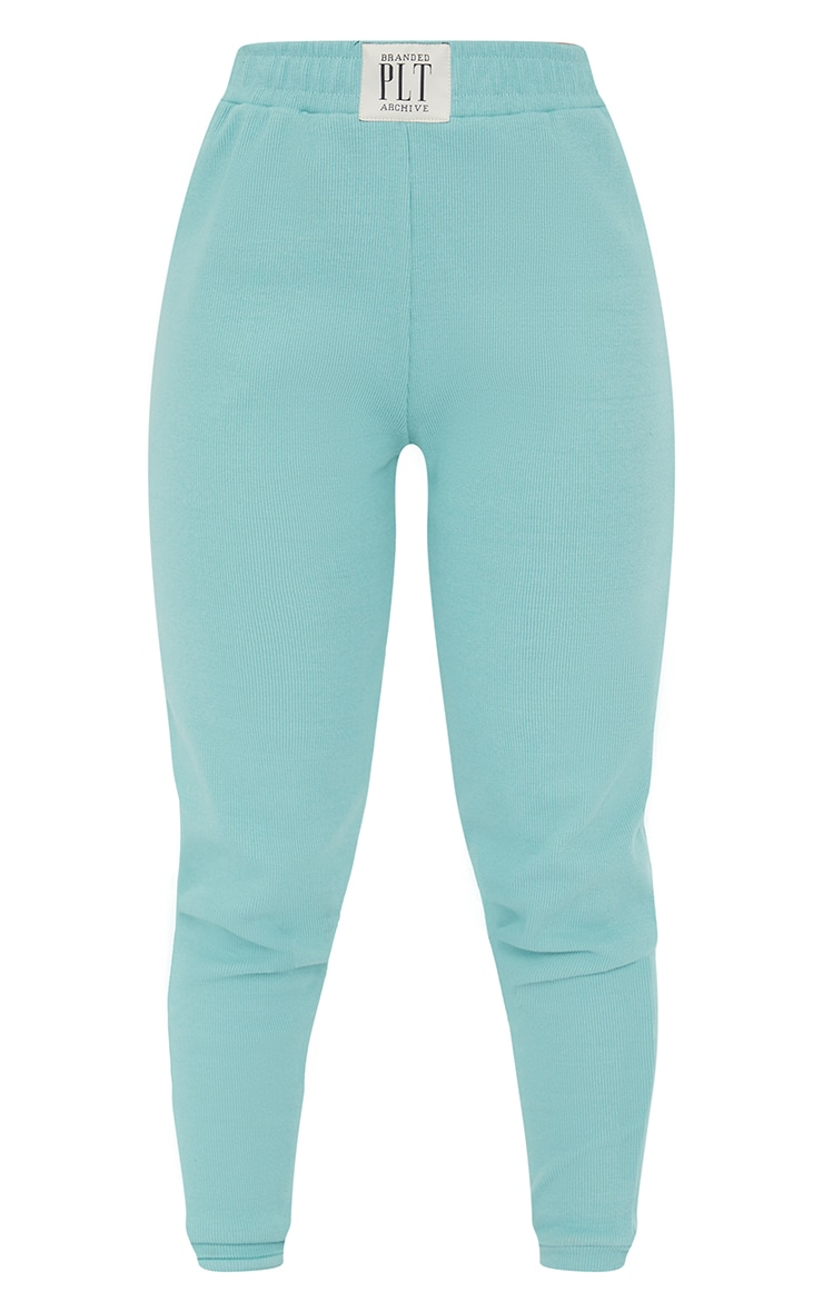 PRETTYLITTLETHING Washed Green Heavy Rib Lounge Joggers 5