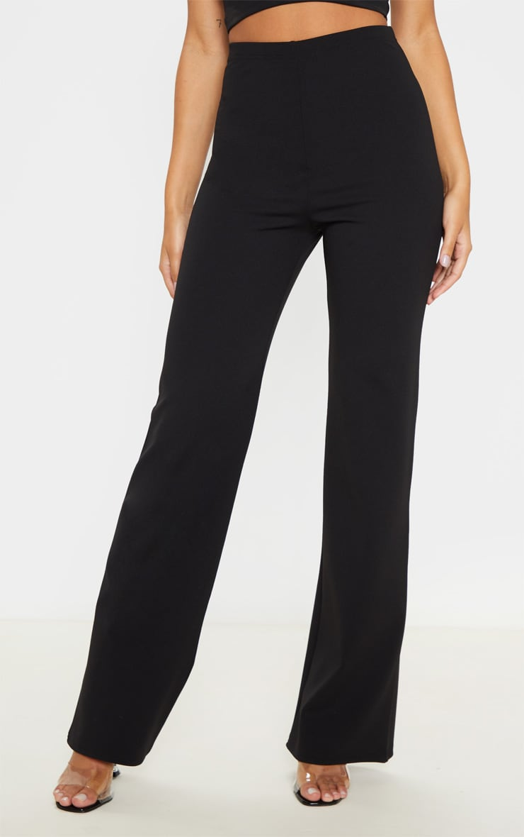 Black Crepe High Waisted Wide Leg Pants 2