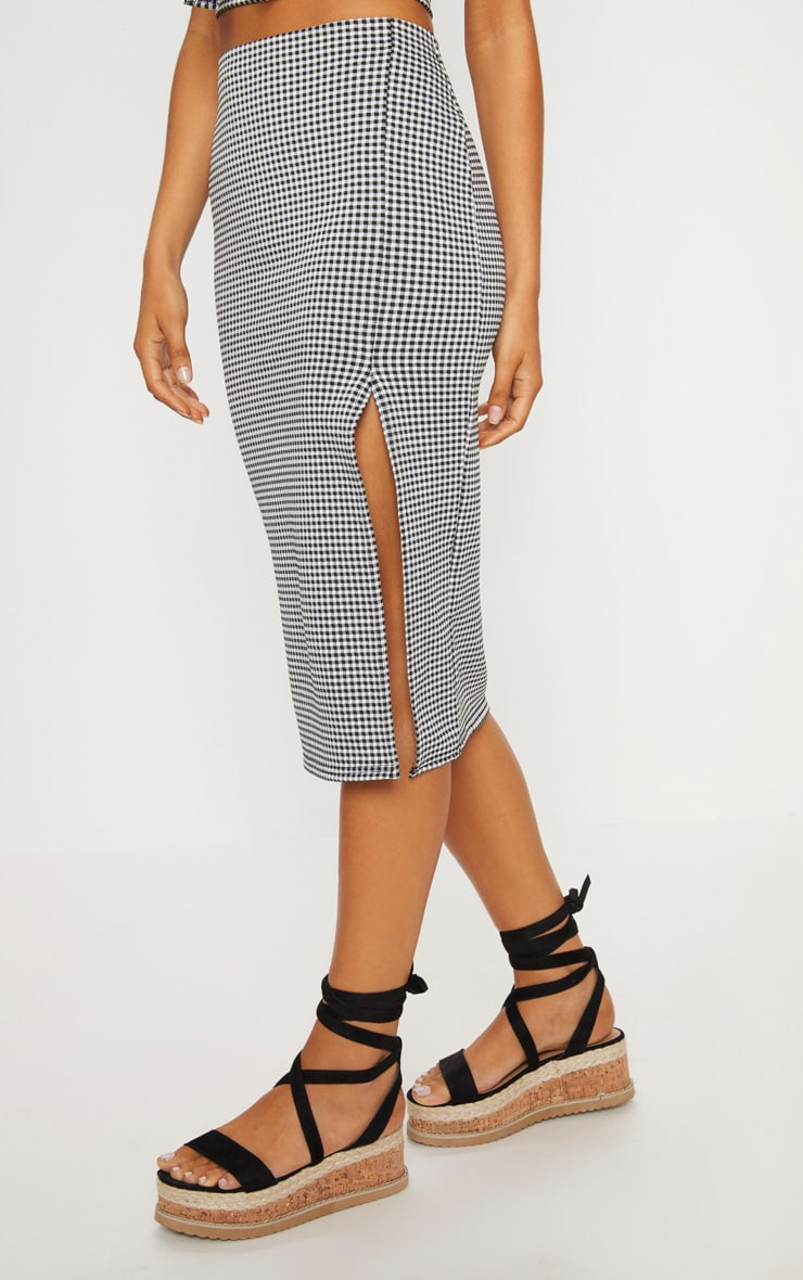 Black Gingham Split Detail Midi Skirt 2