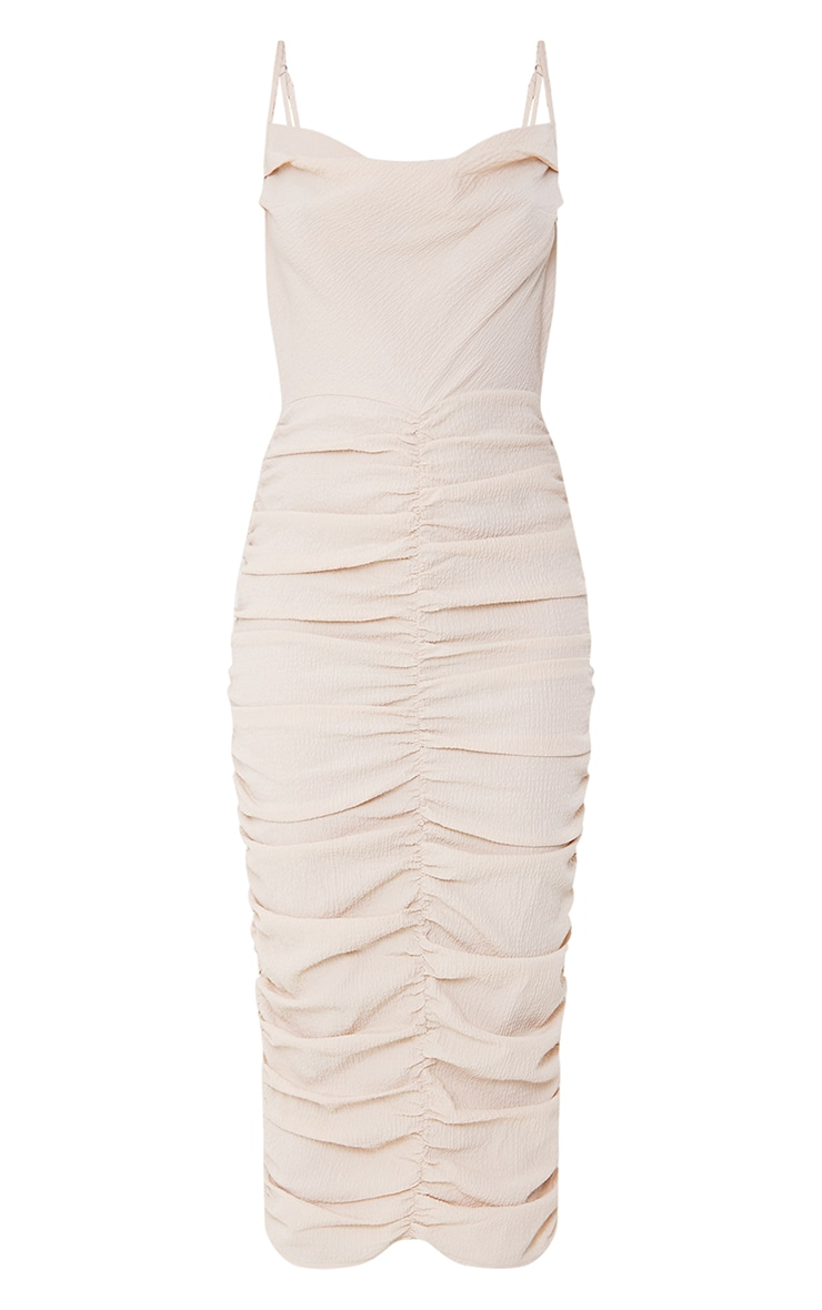 Stone Textured Strappy Cowl Neck Ruched Midaxi Dress 5