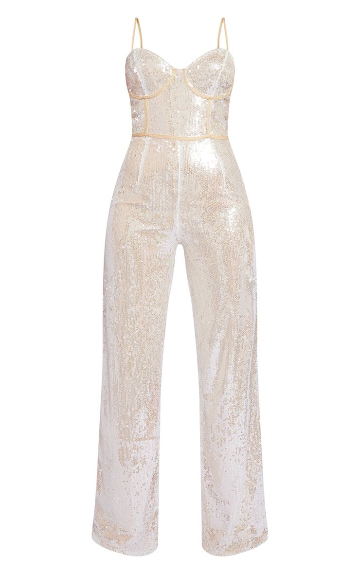 Premium Champagne Sequin Binding Detail Strappy Jumpsuit 5