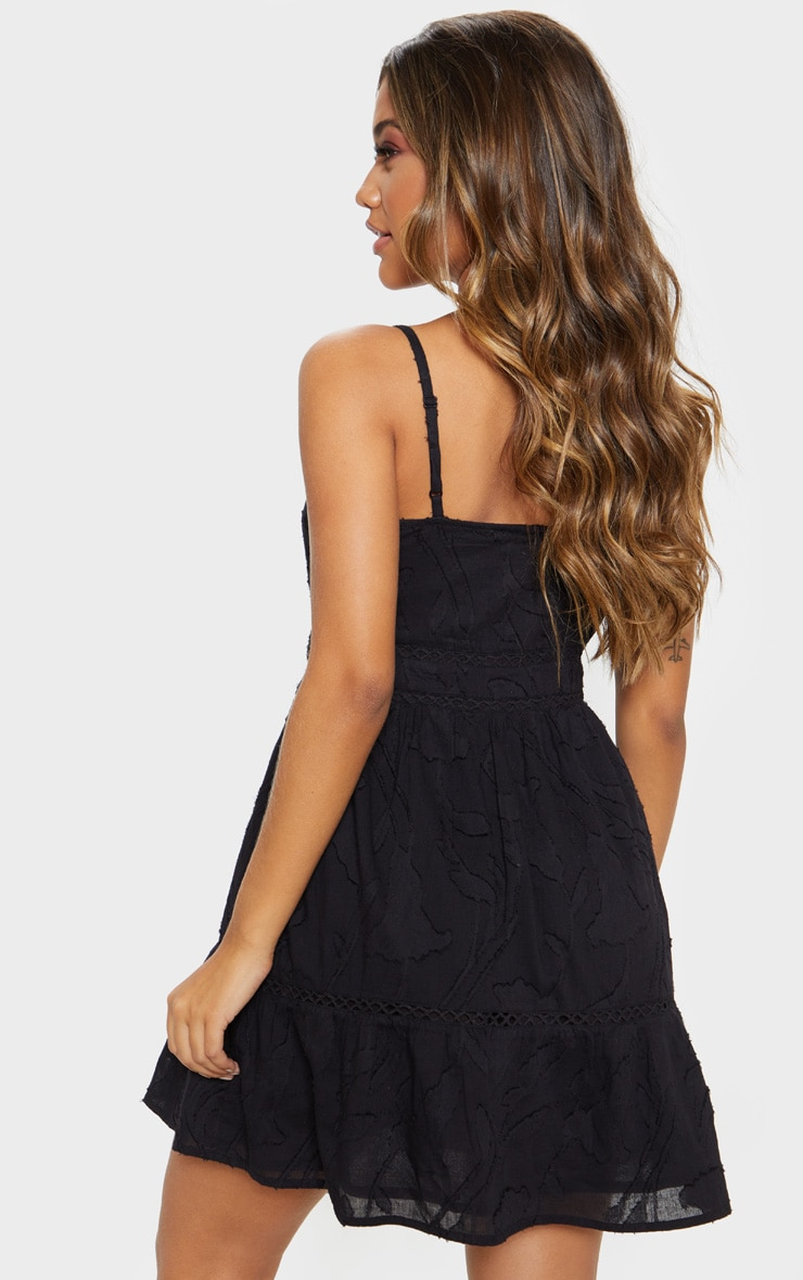 Black Wooden Button Front Cami Dress 2