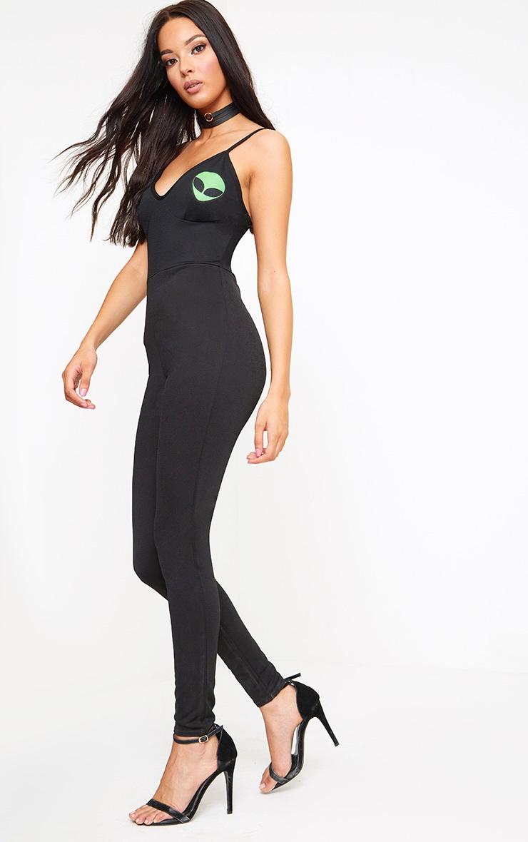 Black Alien Print Jumpsuit 4