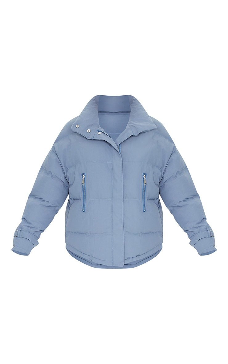 Grey High Collar Belted Wrist Panel Puffer Jacket 5