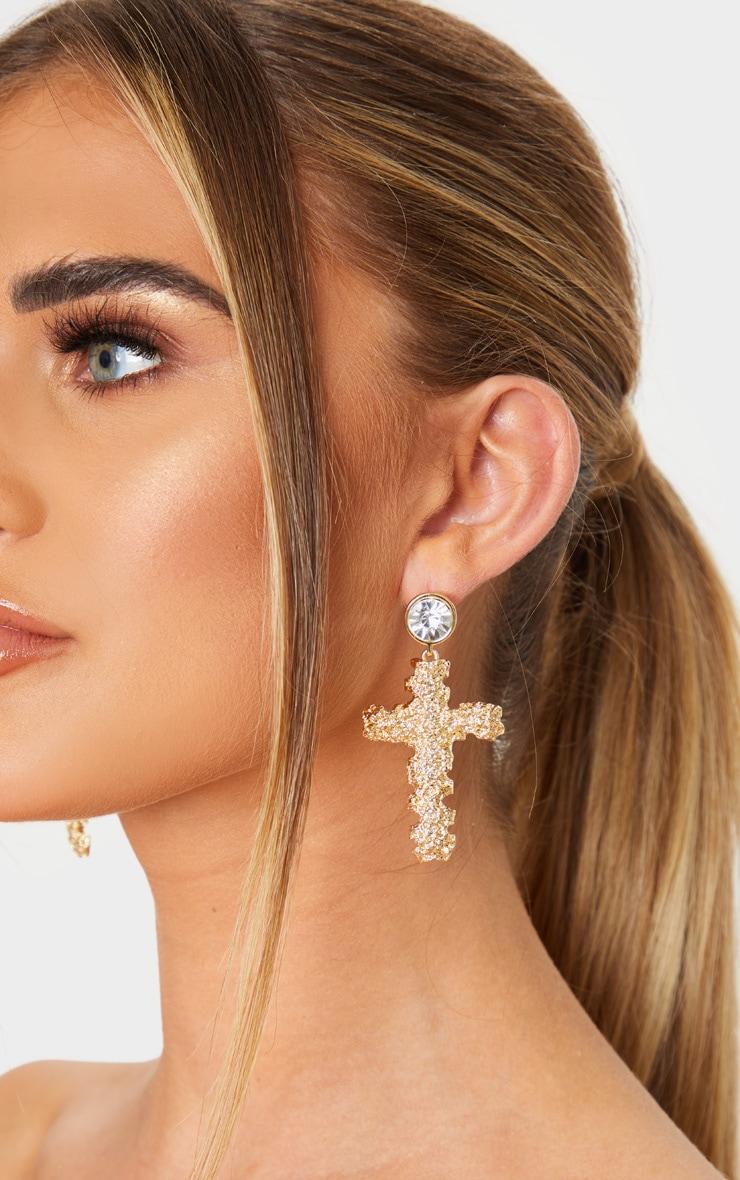 Gold Textured Cross Diamante Stud Drop Earrings