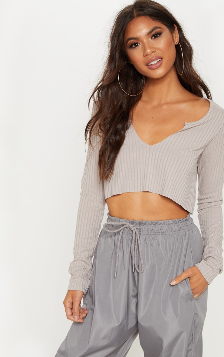 Grey Marl Long Sleeve Rib Raw V Crop Top 1