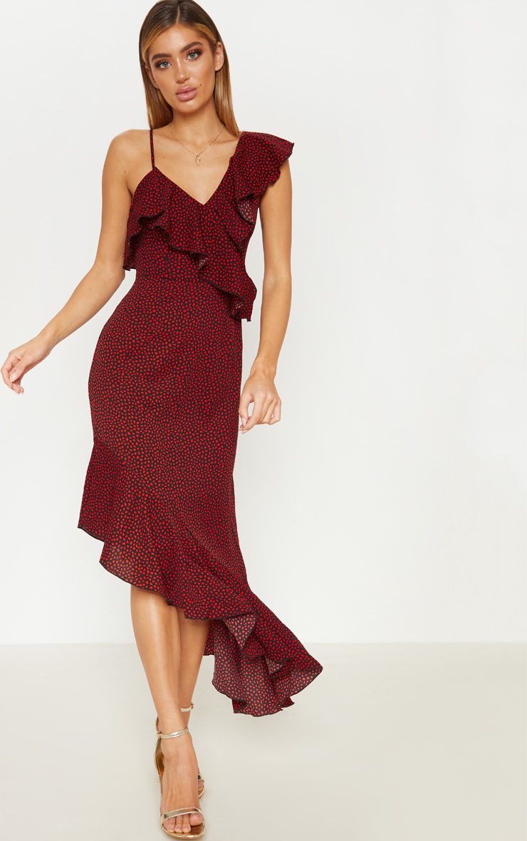 Burgundy Polka Dot One Shoulder Asymmetric Hem Maxi Dress 1