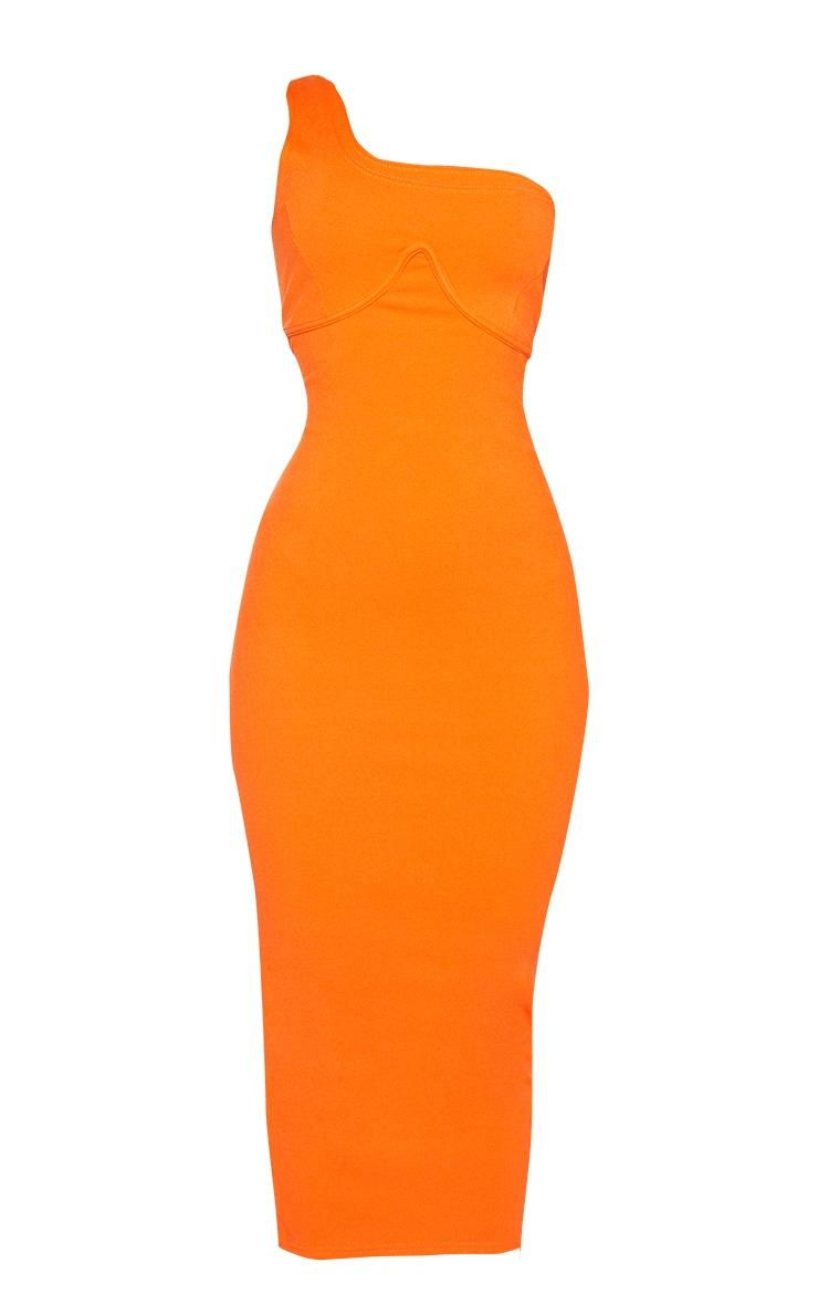 Orange Ribbed One Shoulder Underbust Detail Midaxi Dress 6