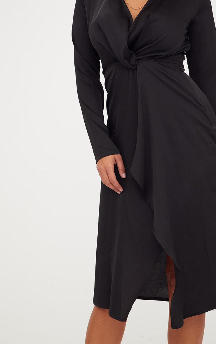 Black Satin Long Sleeve Wrap Midi Dress 5