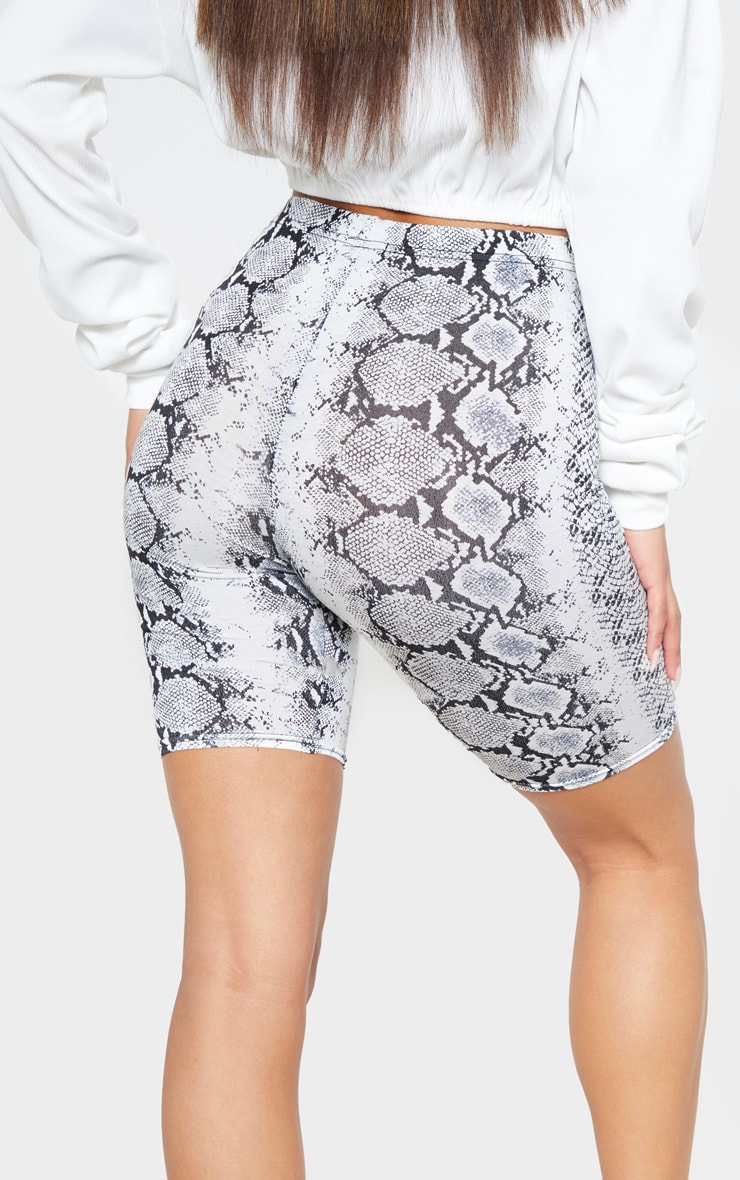 White Jersey Snake Print Cycle Short 6