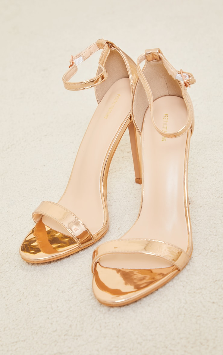 Rose Gold Wide Fit Clover Single Strap Heeled Sandal 3