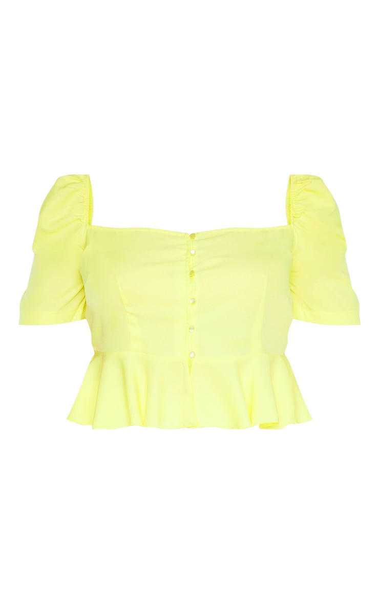 Plus Bright Yellow Square Neck Crop Top  3