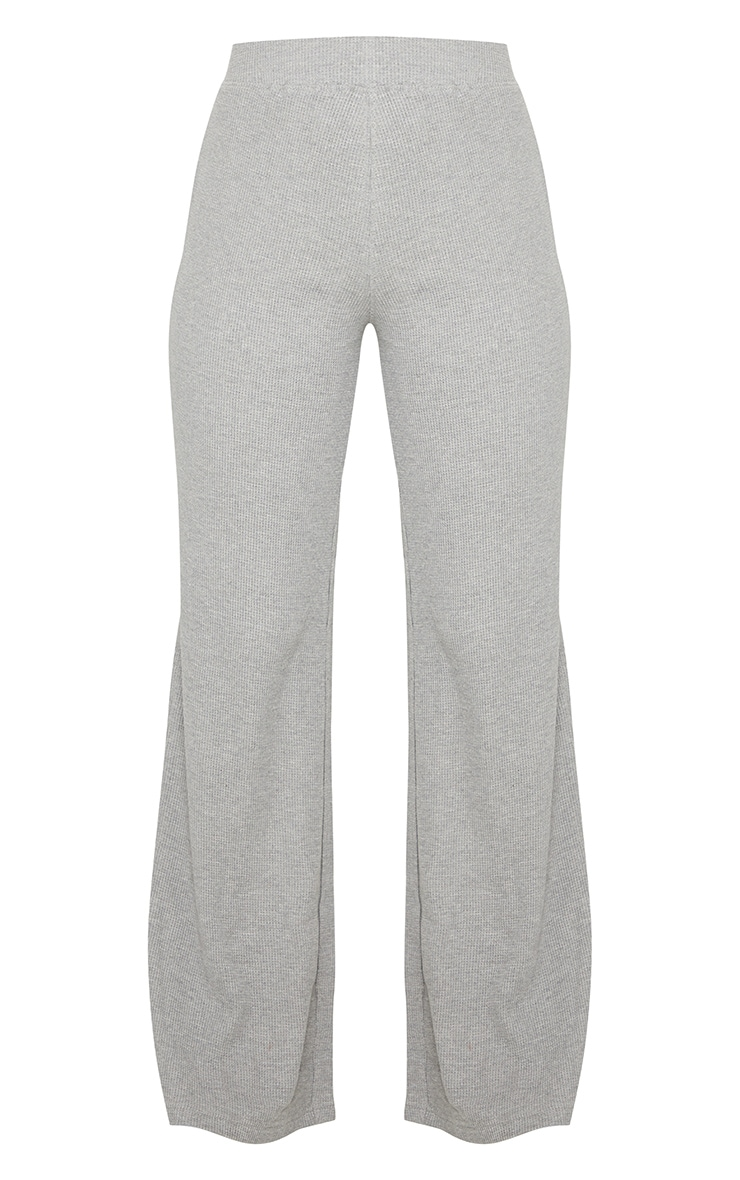 Grey Waffle Textured Wide Leg Trousers 5