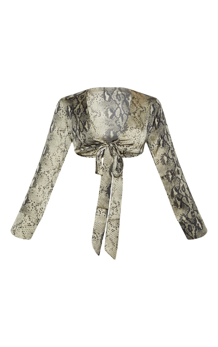 Green Snake Print Tie Front Crop Shirt 3