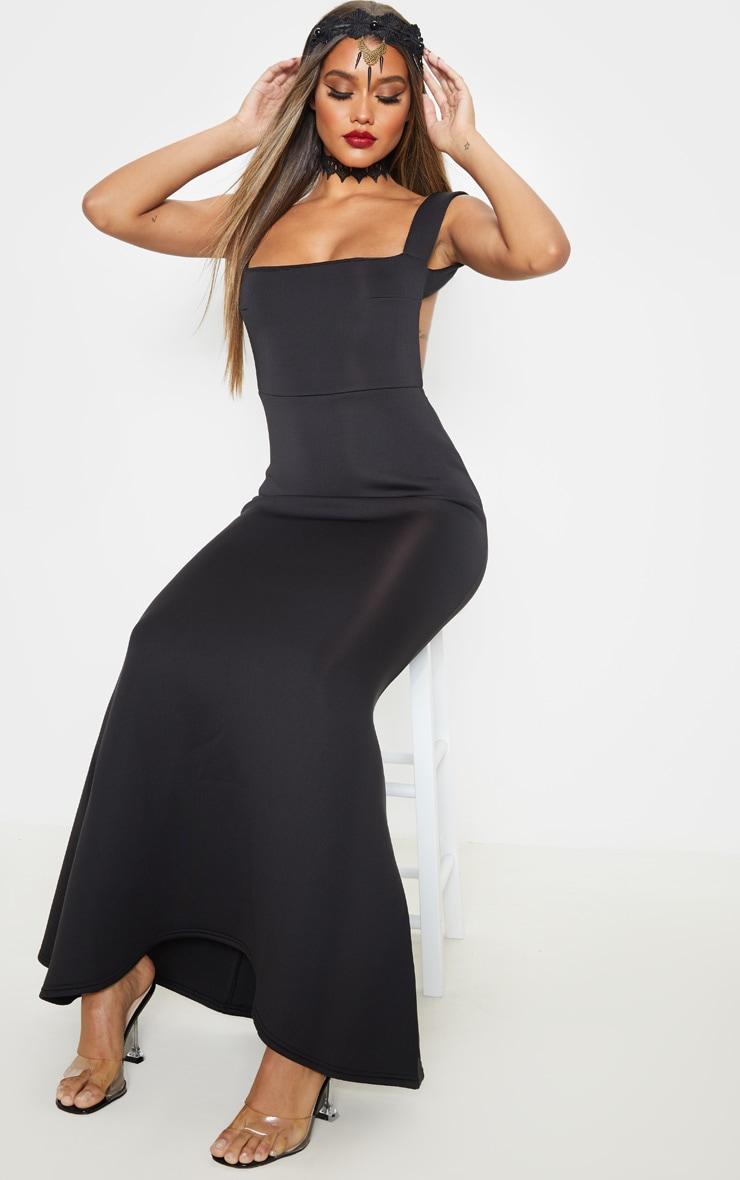 Black Strappy Square Neck Maxi Dress 1