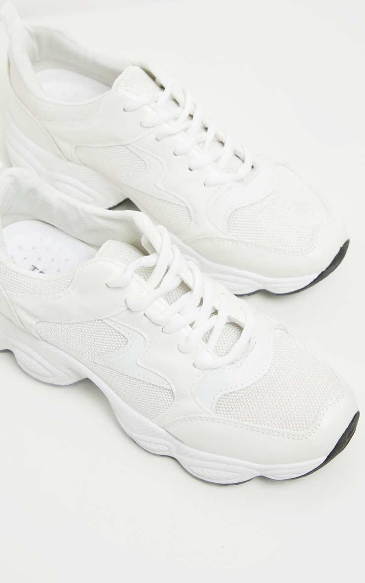 White Basic Bubble Sole Chunky Trainers 4