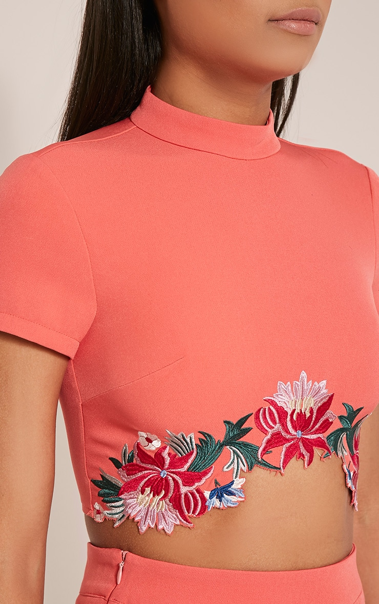 Charis Coral Floral Embroidered Crop Top 8