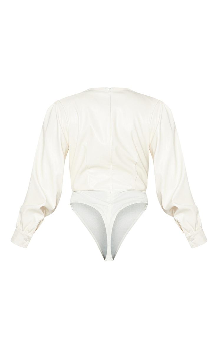 Cream Pu Shoulder Pad Plunge Long Sleeve Bodysuit 6