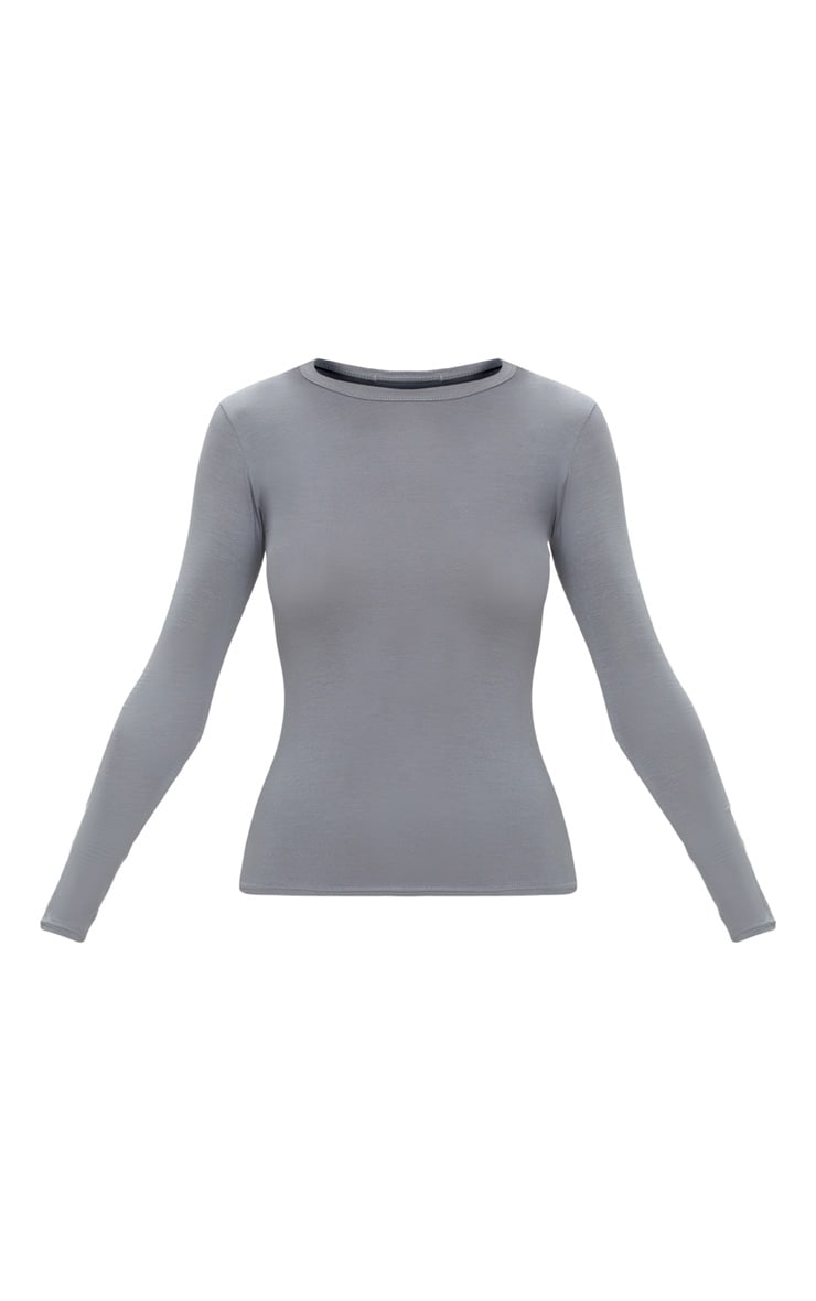 Basic Charcoal Grey Long Sleeve Fitted T Shirt  3