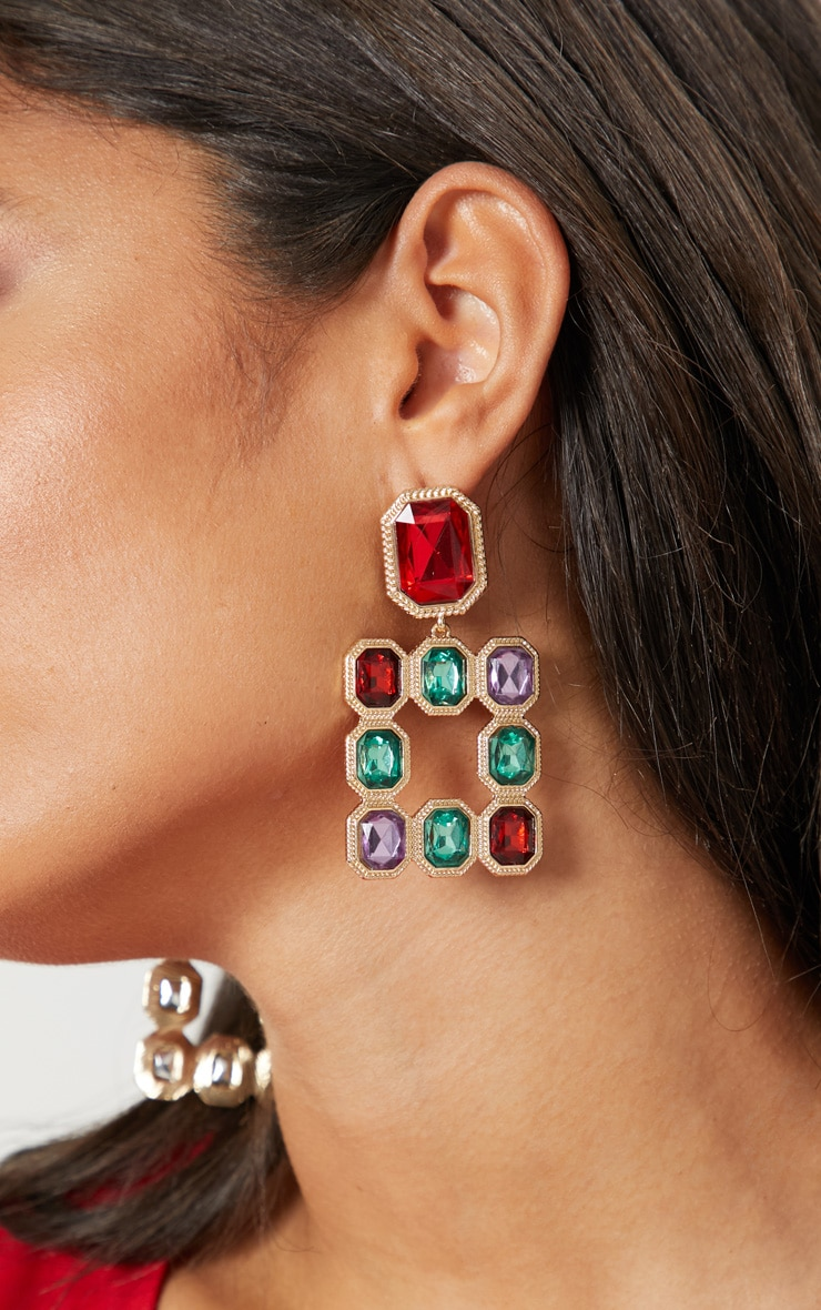 Multi Jewelled Square Drop Door Knocker Earrings 1