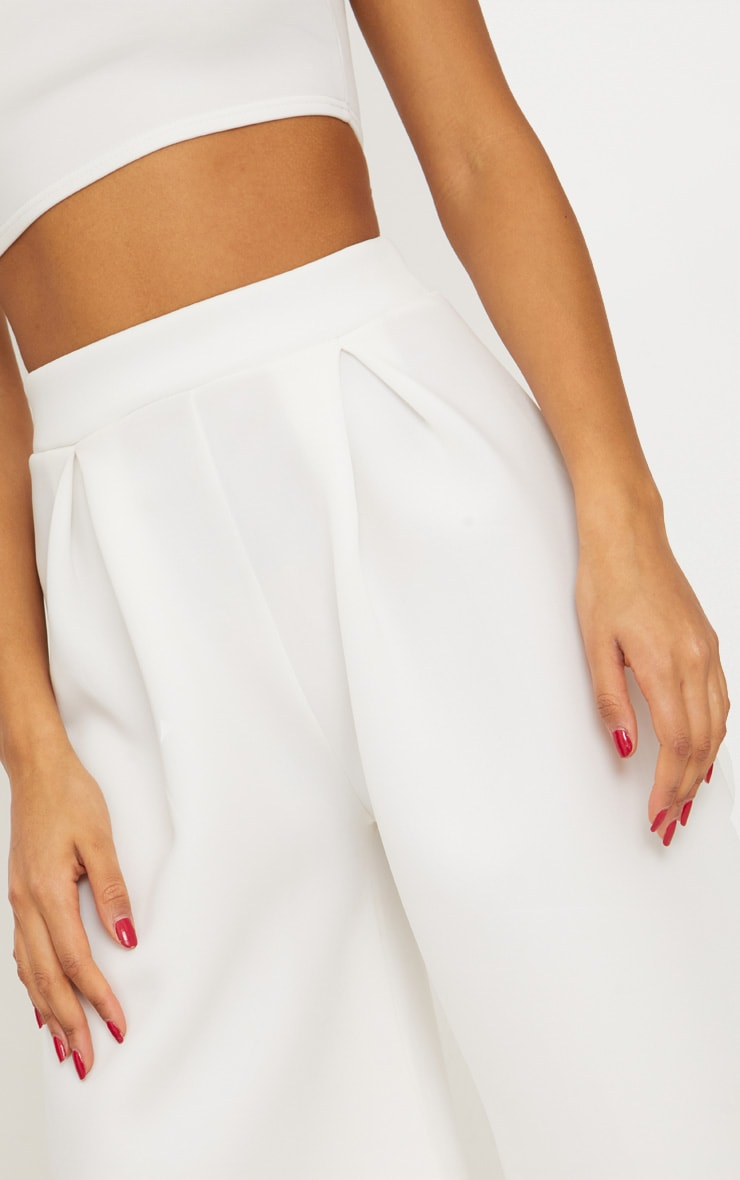 White Bonded Scuba Pleated Extreme Wide Leg Trousers 4