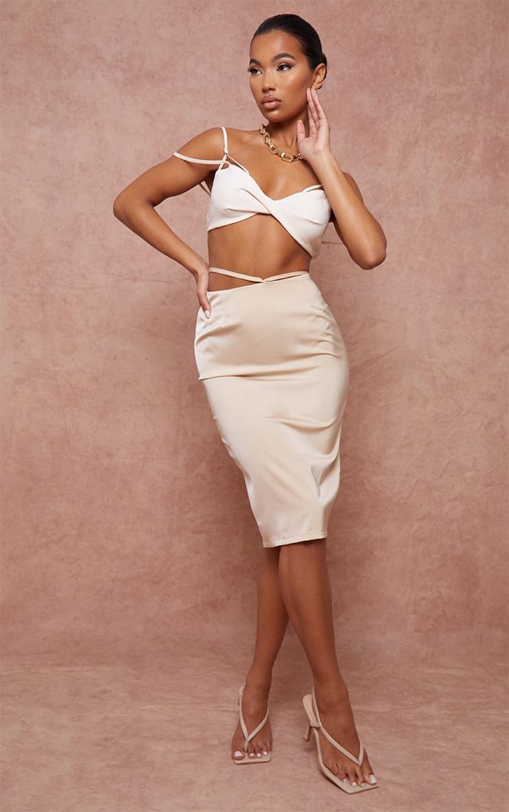 Champagne Woven Tie Waist Midi Skirt