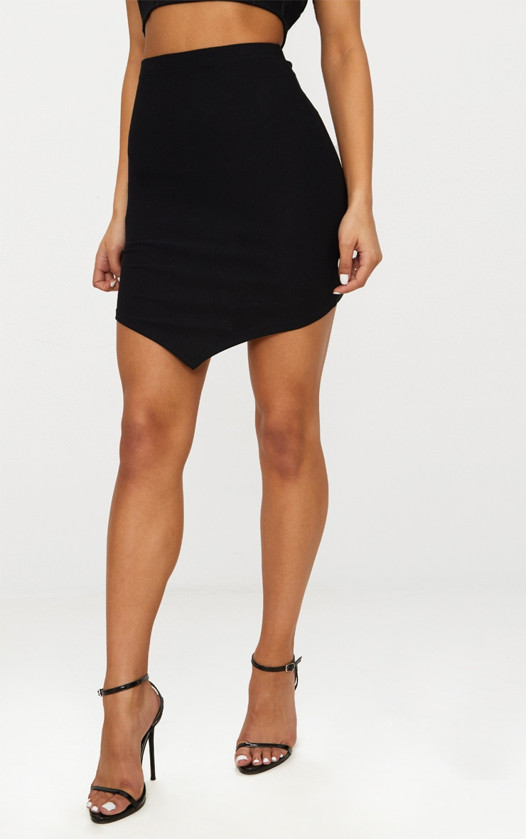 Black Crepe Pointed Front Mini Skirt 2