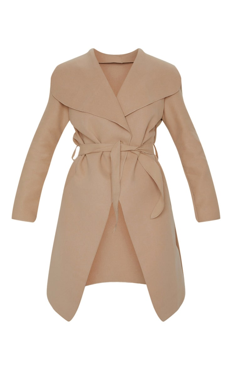 Veronica Camel Oversized Waterfall Belt Coat 6