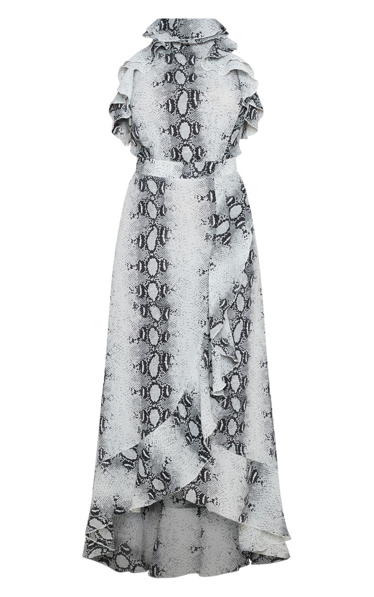 Grey Snake Print Frill Detail Wrap Maxi Dress 3
