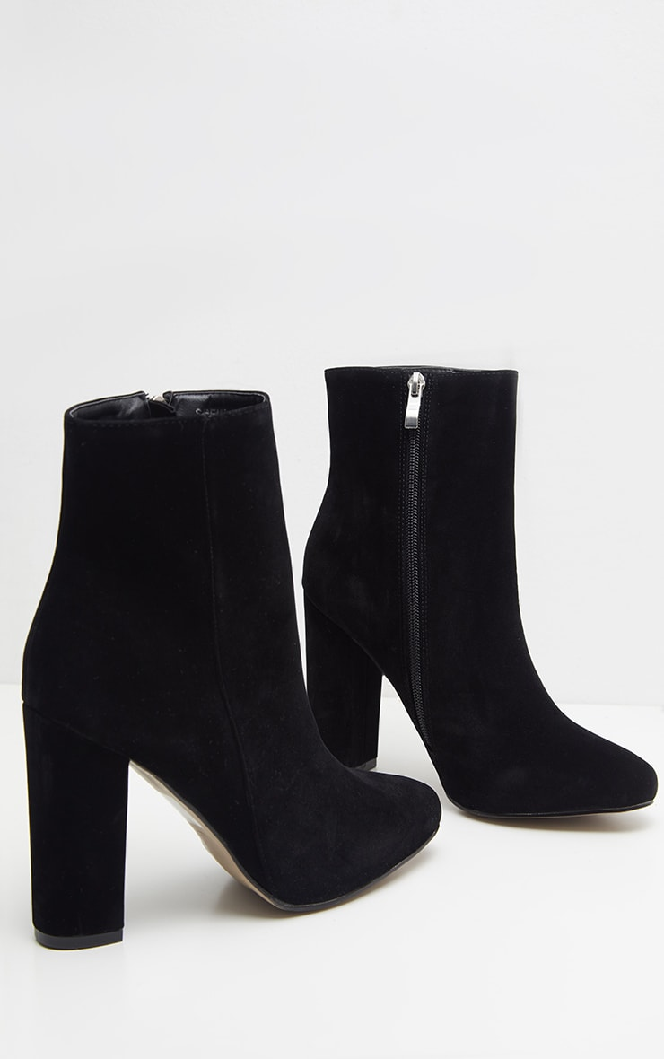 Behati Black Faux Suede Ankle Boots 1