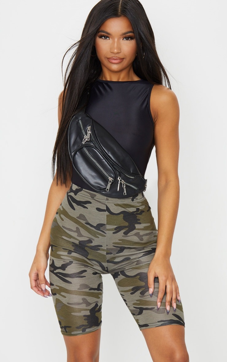 Khaki Camo Print Bike Shorts 1
