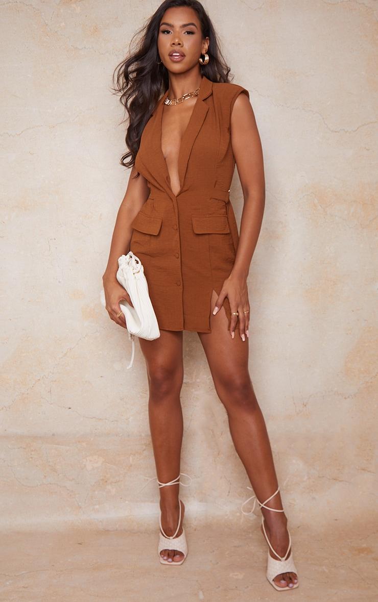 Chocolate Sleeveless Shoulder Pad Waist Tie Blazer Dress 1