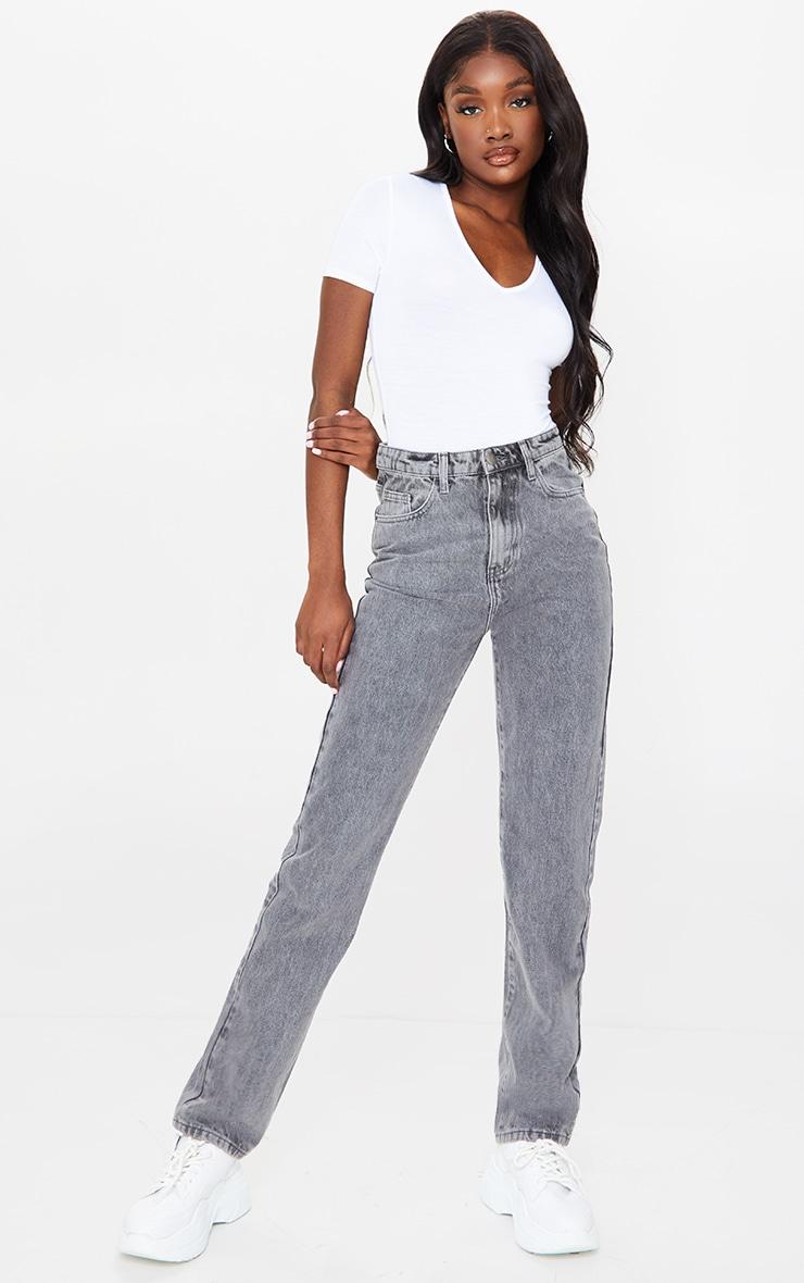PRETTYLITTLETHING Tall Grey Acid Wash Straight Leg Jeans 1