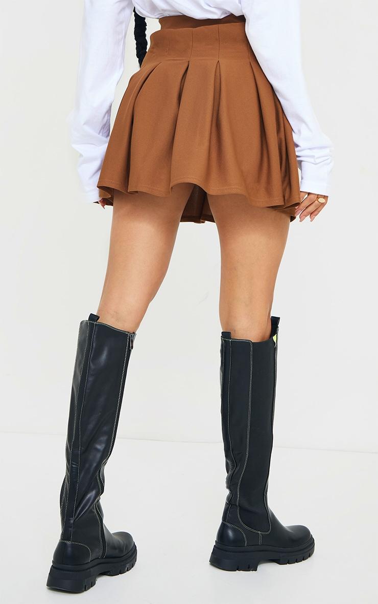 Brown Pleated Side Split Tennis Skirt 3
