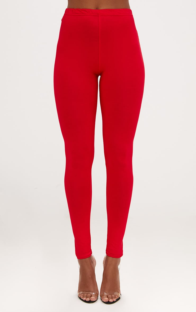 Basic Red and Camel Jersey Leggings 2 Pack 2