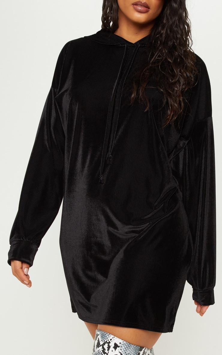 Black Ribbed Velvet Oversized Hoodie Jumper Dress 5