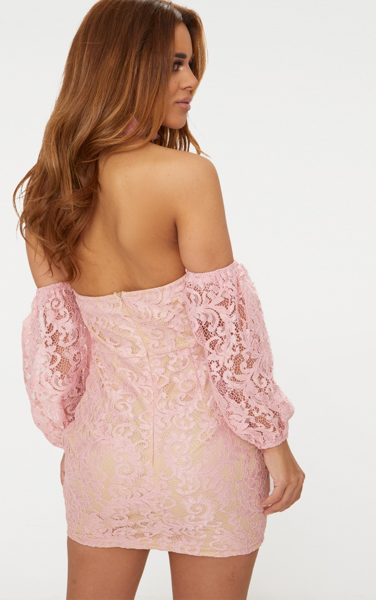 Petite Dusty Pink Lace Puff Sleeve Bodycon Dress 2