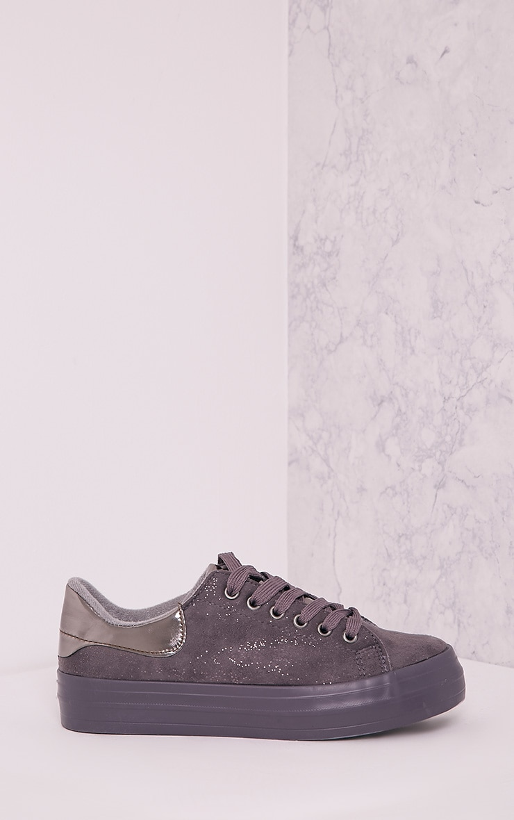 Tyra Grey Faux Suede Lace Up Pumps 3
