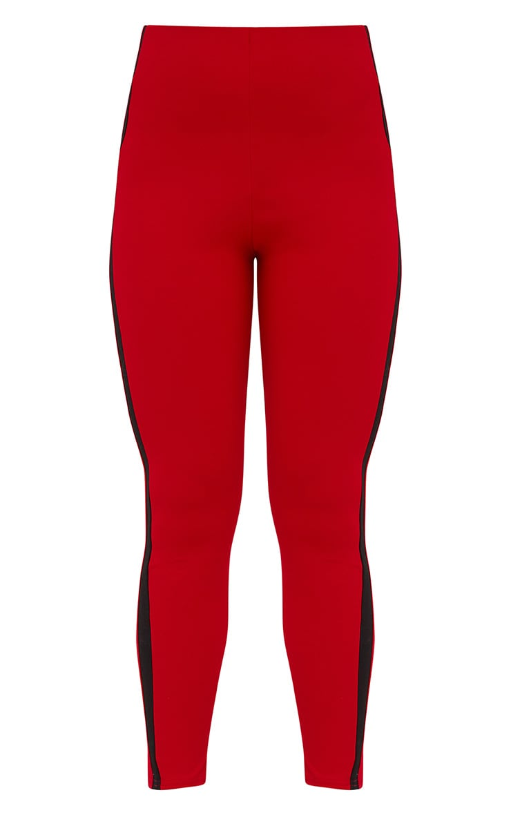 Red High Waisted Track Trousers 3