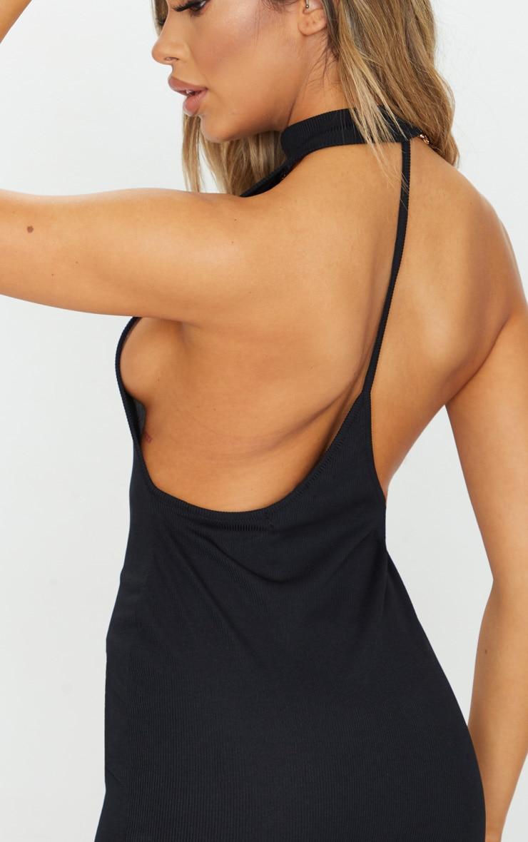 Black Ribbed High Neck Open Back Strap Detail Bodycon Dress 4
